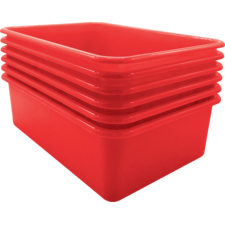 Red Large Plastic Storage Bin 6 Pack