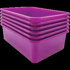 Purple Large Plastic Storage Bin 6 Pack