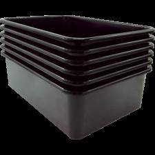 Black Large Plastic Storage Bin 6 Pack