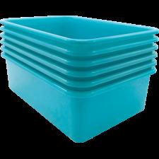 Teal Lage Plastic Storage Bin 6 Pack