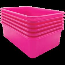 Pink Large Plastic Storage Bin 6 Pack