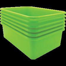 Lime Large Plastic Storage Bin 6 pack