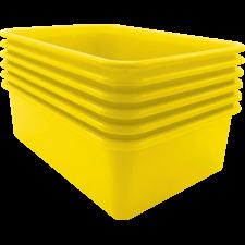 Yellow Large Plastic Storage Bin 6 Pack