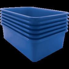 Blue Large Plastic Storage Bin 6 Pack