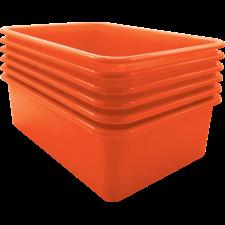 Orange Large Plastic Storage Bin 6 Pack