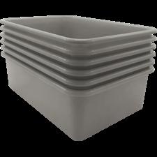 Gray Large Plastic Storage Bin 6 pack