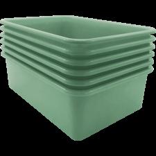 Eucalyptus Green Large Plastic Storage Bin 6 Pack