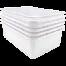 White Large Plastic Storage Bin 6 Pack