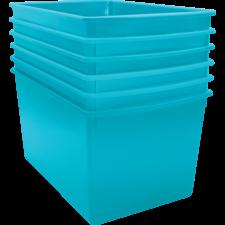 Teal Plastic Multi-Purpose Bin 6 Pack