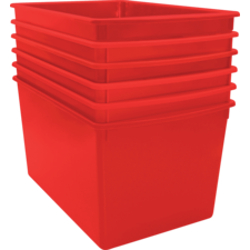 Red Plastic Multi-Purpose Bin 6 Pack