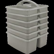 Gray Plastic Storage Caddy 6 Pack