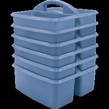 Slate Blue Plastic Storage Caddy 6 Pack