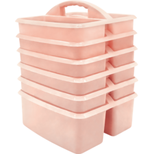 Blush Plastic Storage Caddy 6 Pack
