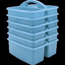 Light Blue Plastic Storage Caddy 6 Pack