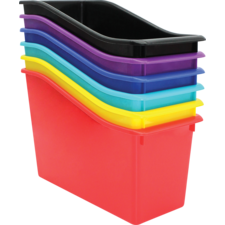 Bold Colors Plastic Book Bins Set of 6