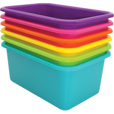 Brights Small Plastic Storage Bins Set of 6