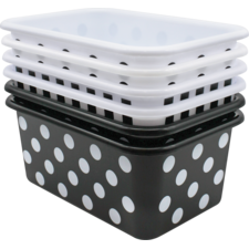 Black and White Design Small Plastic Storage Bins Set of 6
