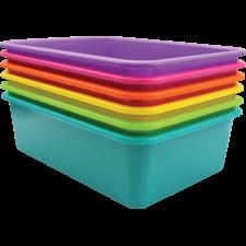Brights Large Plastic Storage Bins Set of 6