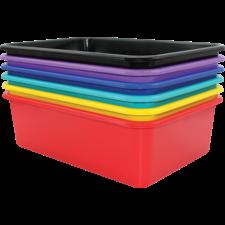 Bold Colors Large Plastic Storage Bins Set of 6