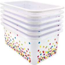 Confetti Small Plastic Storage Bins 6-Pack