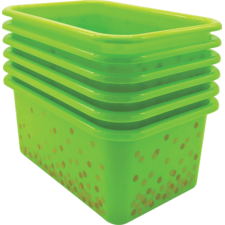 Lime Confetti Small Plastic Storage Bins 6-Pack