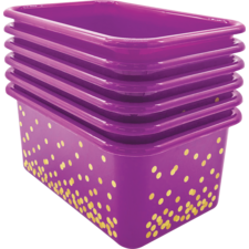 Purple Confetti Small Plastic Storage Bins 6-Pack