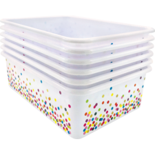 Confetti Large Plastic Storage Bins 6-Pack