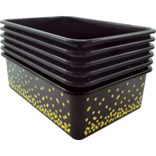 Black Confetti Large Plastic Storage Bins 6-Pack