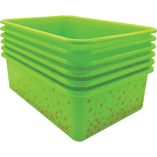 Lime Confetti Large Plastic Storage Bins 6-Pack
