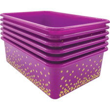 Purple Confetti Large Plastic Storage Bins 6-Pack