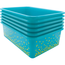 Teal Confetti Large Plastic Storage Bins 6-Pack