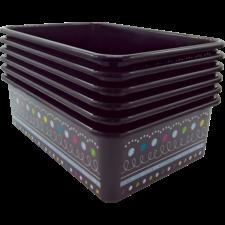Chalkboard Brights Large Plastic Storage Bins 6-Pack