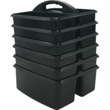 Black Plastic Storage Caddies 6-Pack