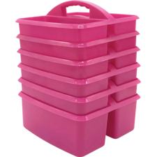 Pink Plastic Storage Caddies 6-Pack