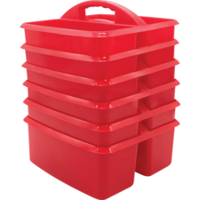Red Plastic Storage Caddies 6-Pack