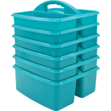 Teal Plastic Storage Caddies 6-Pack