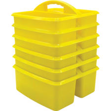 Yellow Plastic Storage Caddies 6-Pack