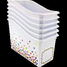 Confetti Plastic Book Bins 6-Pack