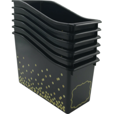 Black Confetti Plastic Book Bins 6-Pack