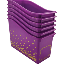 Purple Confetti Plastic Book Bins 6-Pack