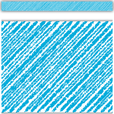 Aqua Scribble Straight Border Trim