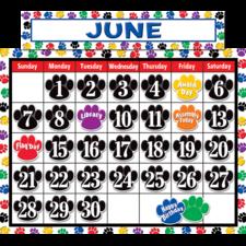 Colorful Paw Prints Calendar Bulletin Board Display Set