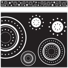 Black & White Crazy Circles Straight Border Trim