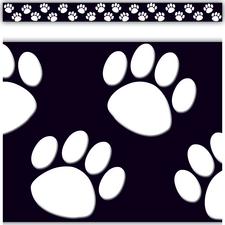 Black with White Paw Prints Straight Border Trim