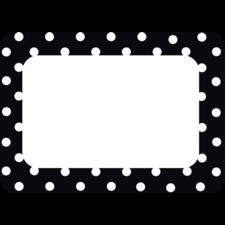 Black Polka Dots 2 Name Tags/Labels