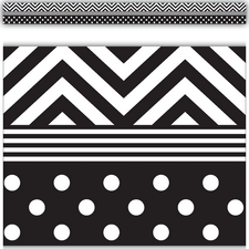 Black & White Chevrons and Dots Straight Border Trim