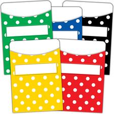 Polka Dots Library Pockets - Multi-Pack