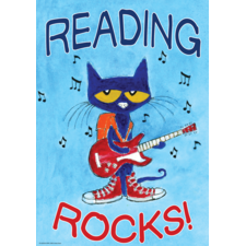 Pete the Cat Reading Rocks Positive Poster