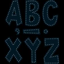 "Black Stitch 7"" Fun Font Letters"