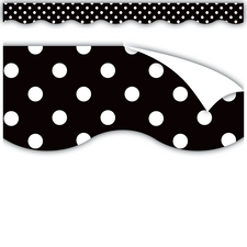 Clingy Thingies Black Polka Dots Scalloped Borders
